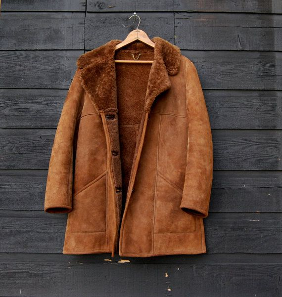 Vintage Suede Shearling Coat, 60s 70s Custom Brown Sheepskin Coat ...