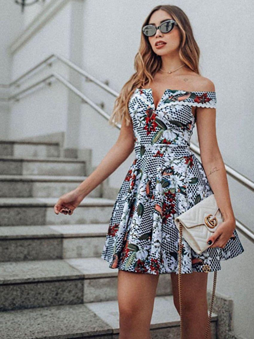 Dress Us Com 1300232 Estampado Ref Ombro A Rodado Vestido uXiOPkZ