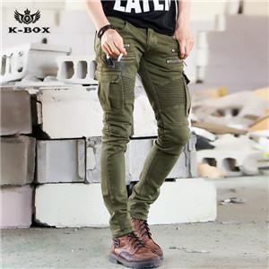 K-BOX J423 Men Elastic Pencil Pants Drape Patchwork Pockets Zippers Slim  Jeans Punk Army Green OR Black Jeans Size M~XXL 41f5d6cc1