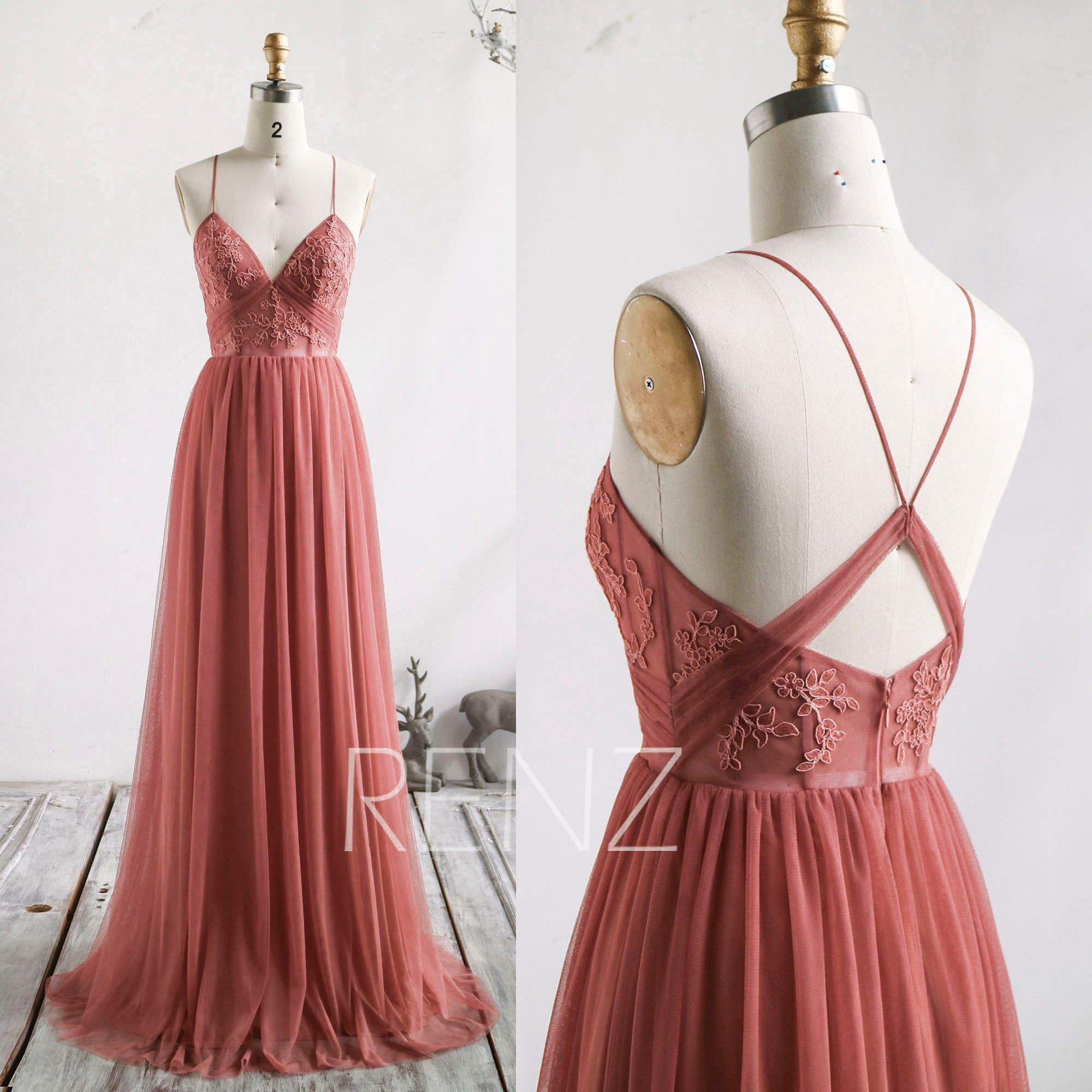 Bridesmaid Dress Canyon Rose Wedding Dress Boho Lace Applique Prom Dress Long V Neck A-line Formal Dress Puffy Tulle Wedding Gown (HS837) -   17 dress Bridesmaid tulle ideas