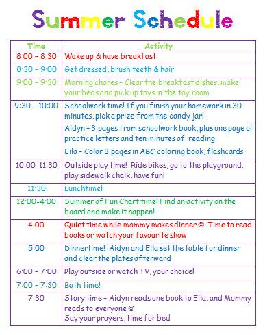 Giving kids a schedule for playtime, chores and summer homework I