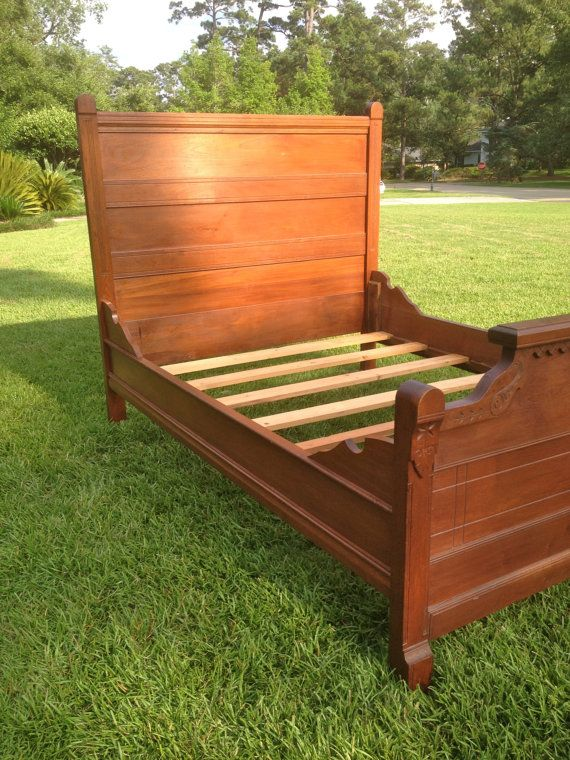 Antique Vintage Carved High Back Wood Bed With Headboard Footboard