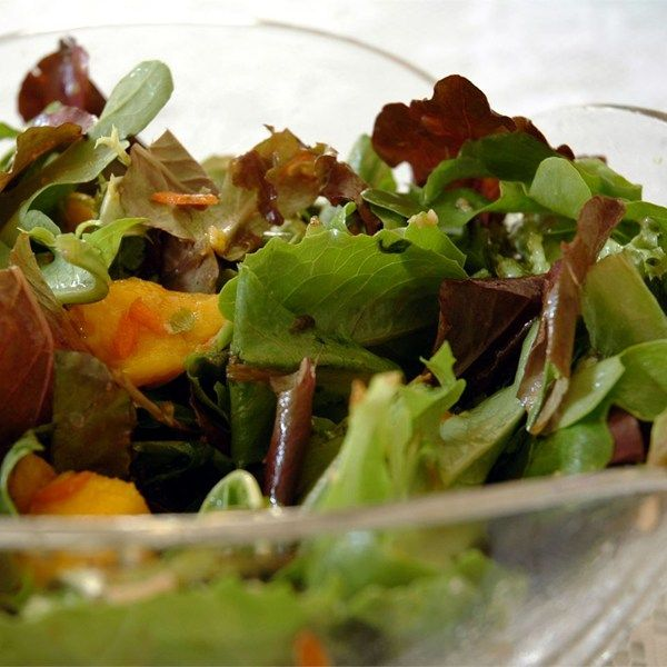 """Mesclun and Mango Salad with Ginger Carrot Dressing 