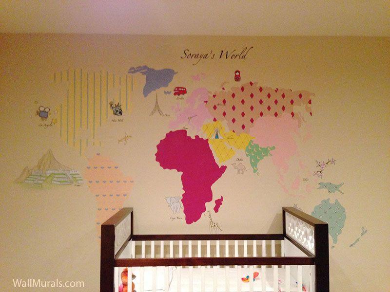 World map mural over crib baby room wall murals by colette world map mural over crib baby room wall murals by colette sciox Choice Image