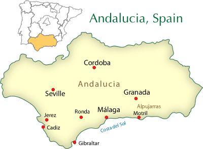 Map Of Spain Showing Malaga.Granada Cordoba And Seville Area On Map Spain Cordoba Seville