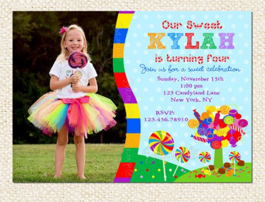 candyland birthday invitations by lollipopprints on etsy, $12.00, Birthday invitations