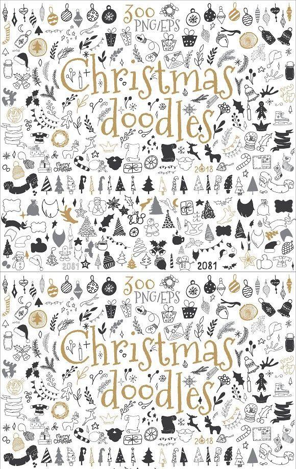 christmas doodle design elements  doodle designs doodles