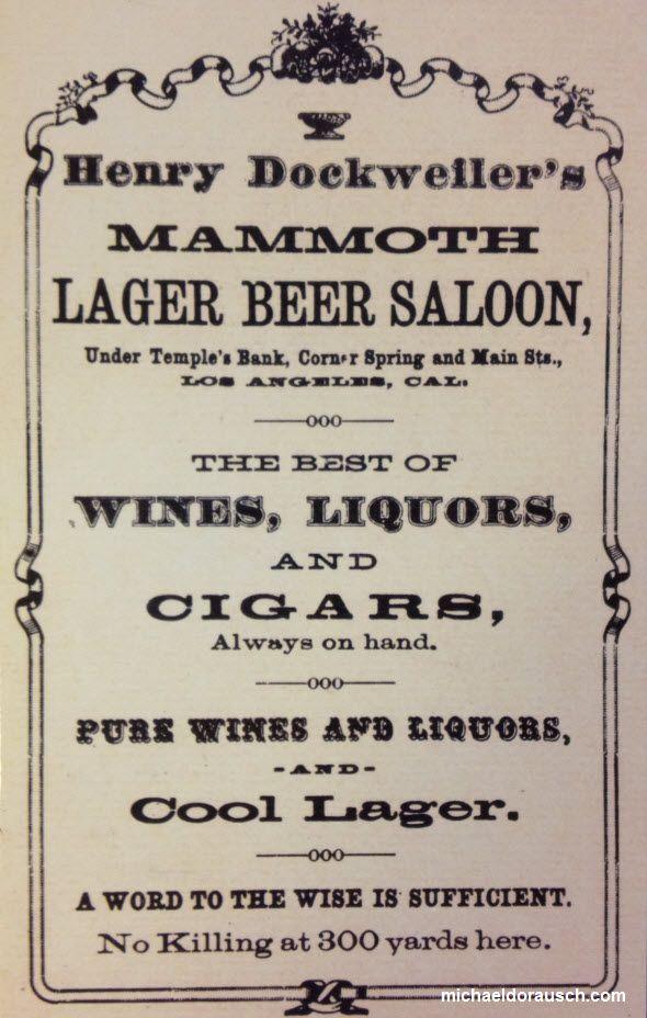 Mam Moth  Los Angeles saloon ad.   No Killing at 300 yards.
