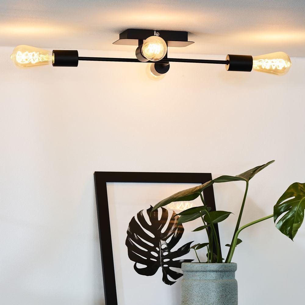 Deckenleuchte Lester In Schwarz Und Nickel E27 4 Flammig Wohnzimmer Leuchte Lampen Leuchten