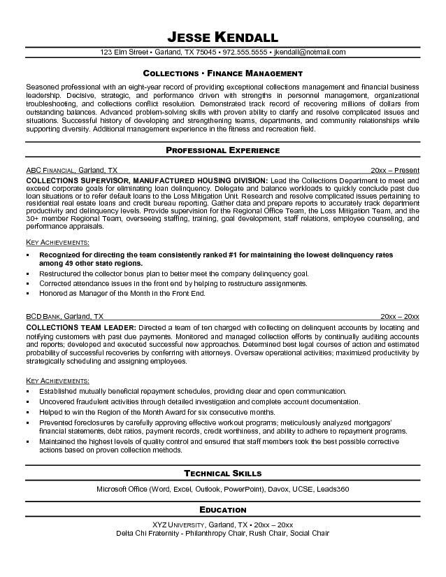 Collections Resume Manager Resume Sample Resume Resume Template Australia