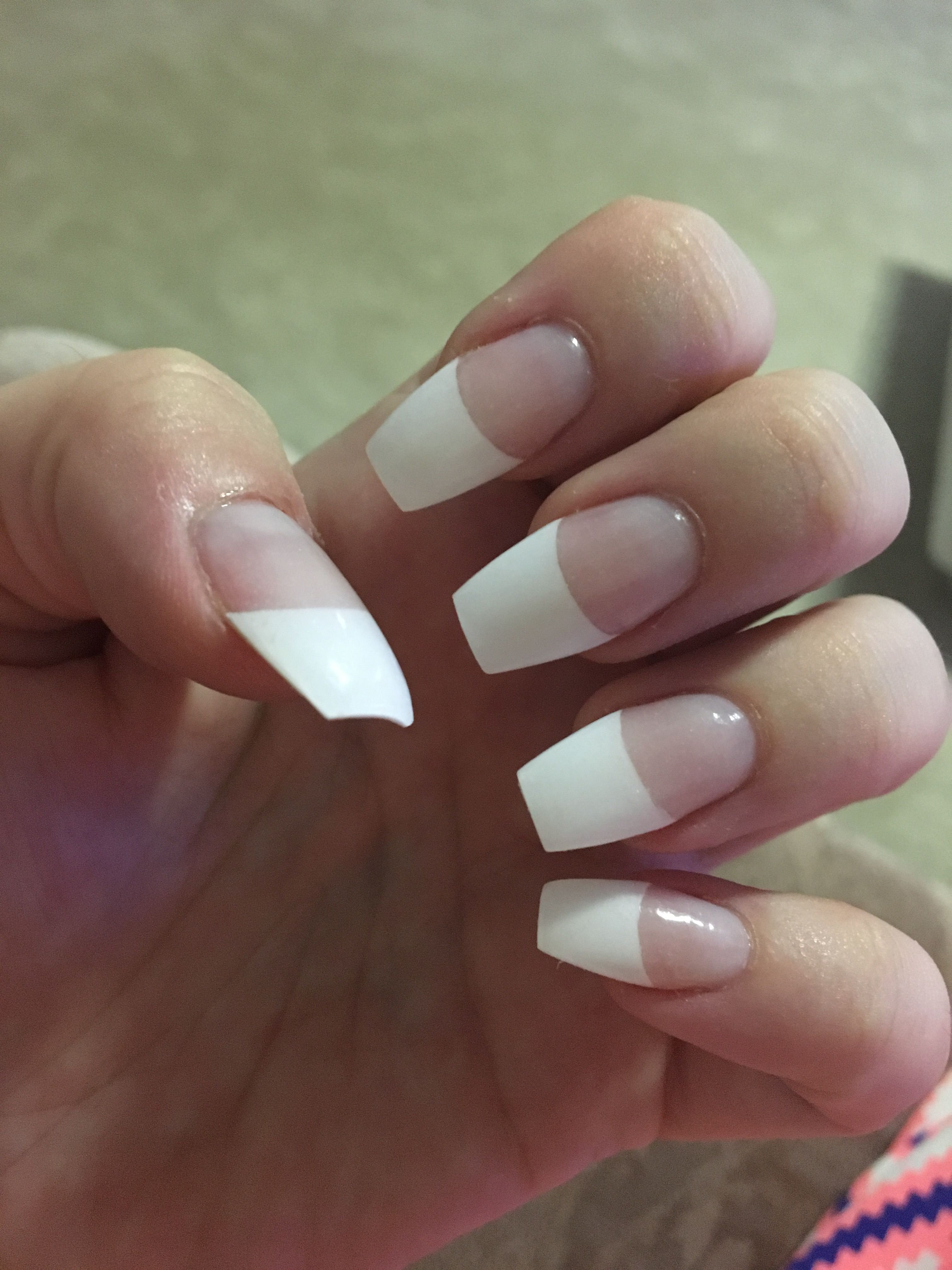 French Tip Coffin Nails French Tip Acrylic Nails French Tip Nails Nail Tip Designs