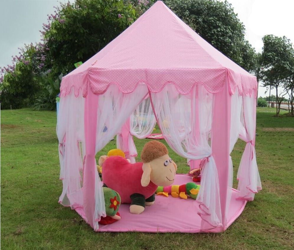 Little Princess Tent Castle Pink Girls Playhouse Kids In/Outdoor Fairy Play Set #SidTrading & Pink Princess Castle Fairy Tent Playhouse Play Toy Kids Girls ...