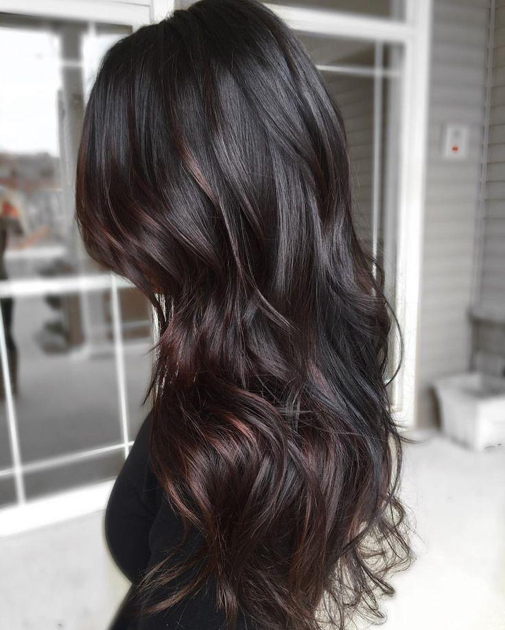 Long Dark Brown Wavy Hair Black Hair Balayage Hair Styles Brown Ombre Hair
