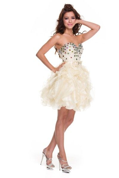 Formal Sassy Short Bow Ruffled Homecoming Strapless Prom Dress with ...