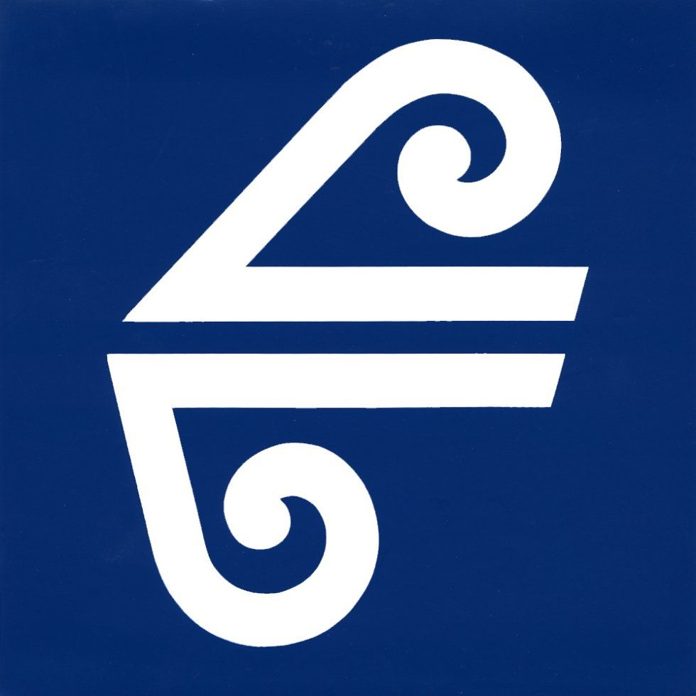 """AIR NEW ZEALAND. The logo is based on the theme of """"Koru"""" (the curly, emerging fronds of Pong Fern, as new and perpetual life) and a """"directional arrow"""" to symbolise modern, direct and efficient....(marketing-speak) ....Bill. (caption: @BillGP)"""