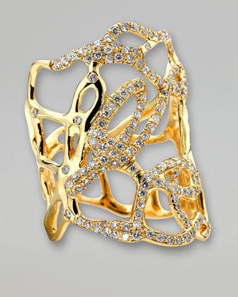 Ippolita Drizzle Wide Gold Diamond Cutout Ring - Neiman Marcus