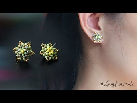 Photo of Mini six petal flower stud earrings. How to make beaded earring
