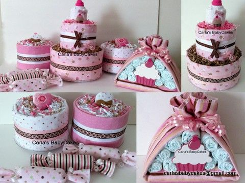 'Cupcake' Baby Shower Decoration Set - 1 - 2 layer diaper cake; 1 Stork Bundle; 2 mini diaper cakes, 3 washcloth/diaper candies ***Can be done in the theme of your choosing