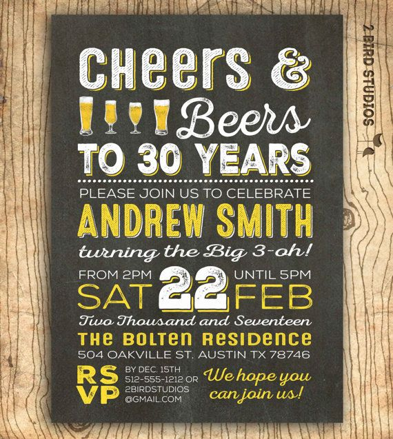 Cheers and beers to 30 years invitation 30th birthday invitation