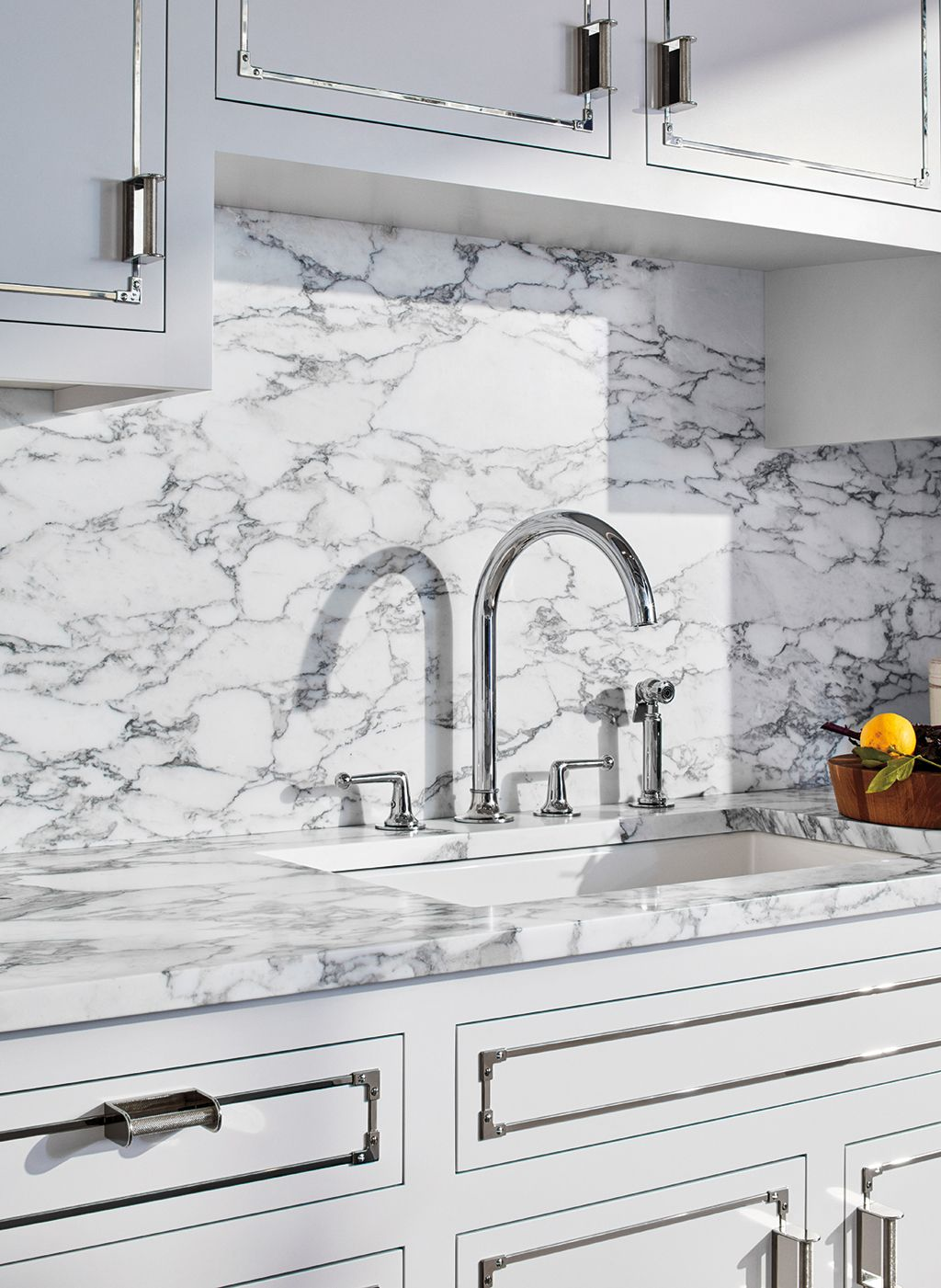 Dash Three Hole Gooseneck Kitchen Faucet with Metal Lever Handles ...