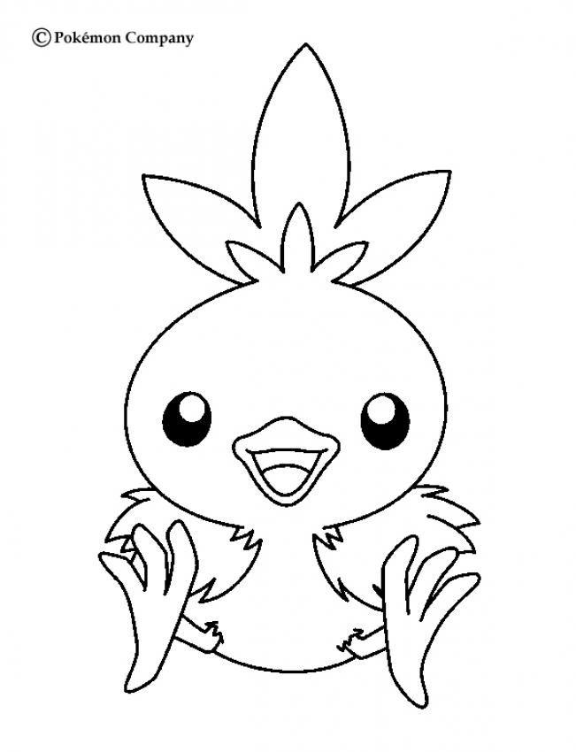 Torchic Pokemon coloring page. More Fire Pokemon coloring