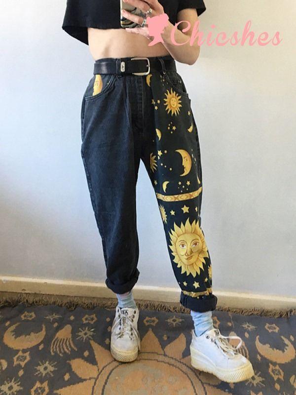 Photo of (Salg i november) Fashion Moon Star Print Casual Bukser