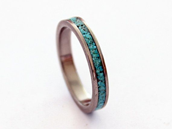 Womens titanium ring with turquoise inlay