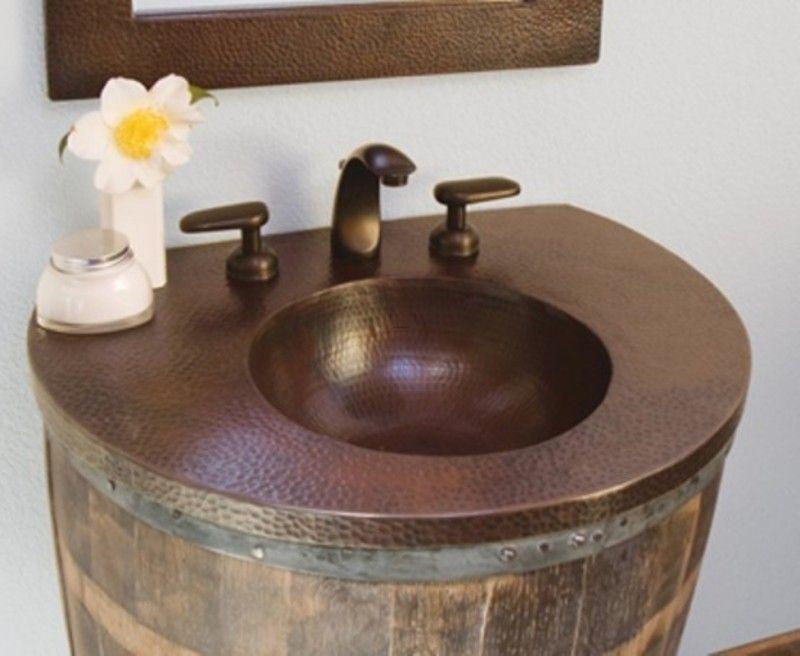 Photo On Bathroom Vanity Sink Furniture Made From Old Wine Barrel