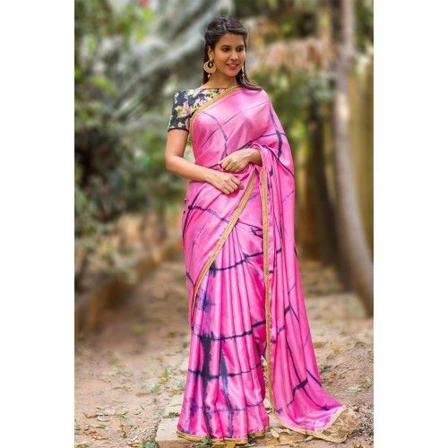 e5db8d10cc Buy House Of Blouse Pink and blue shibori shaded satin silk saree online in  India at best price. There is never too much tie-dye. This pink-purple  shibori ...