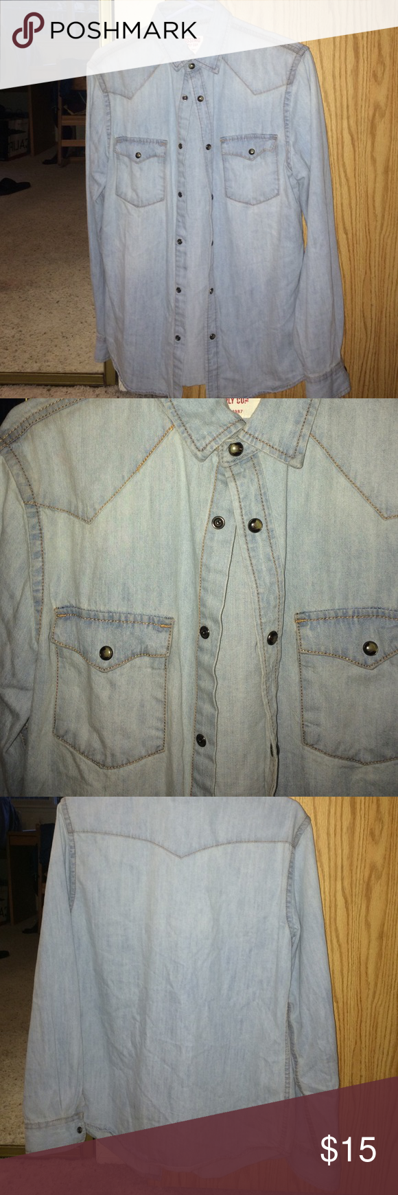 Denim Button Up Barely worn! Fits nicely, pretty soft. Tagged UO for quality Urban Outfitters Shirts Casual Button Down Shirts