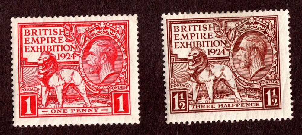 Great Britain  SCOTT# 185 &186 1924 British Lion and KGV  MH OG Watermark #35