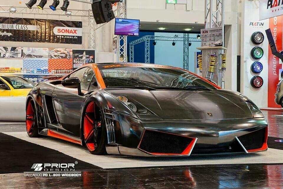 Stanced black chrome Lamborghini Galardo equipped with Prior-Design Aero-kit.