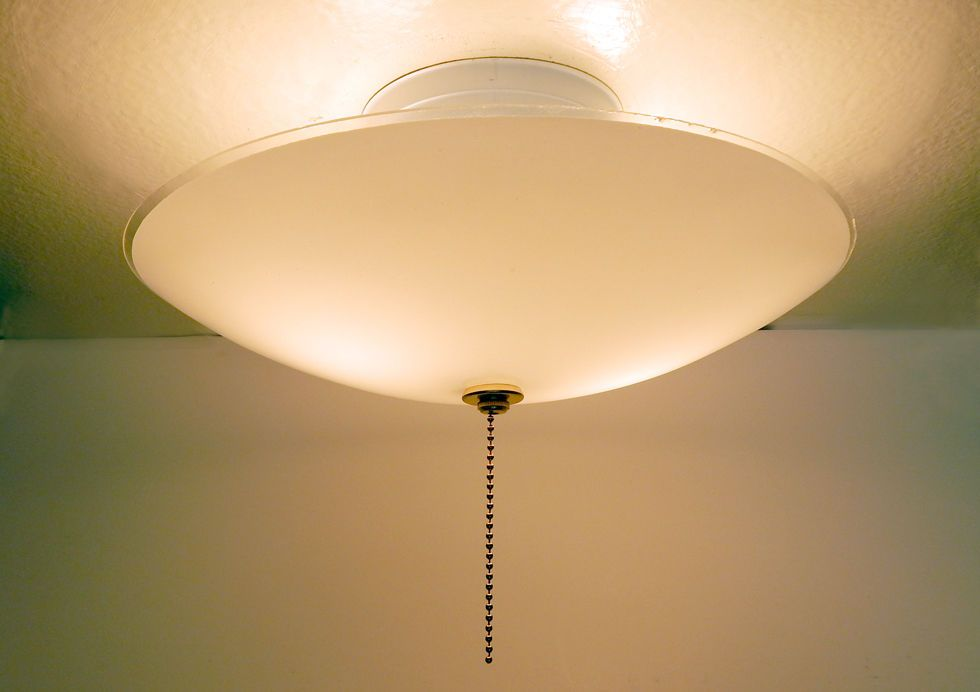 Mid Century Center Post Ceiling Light Vintage Glass New Pull Chain