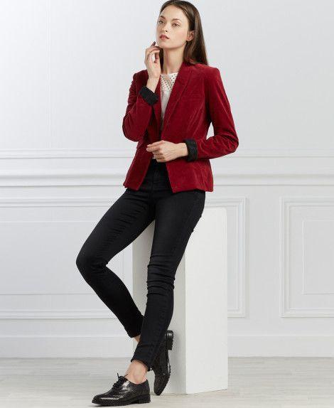 Femmes One Du Veste Manteaux Velours Step Et Vestes Rouge EPq8wtU