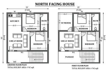 25 x30 North facing house plan as per vastu shastra is given in this FREE 2D Auto cad drawing file Download now