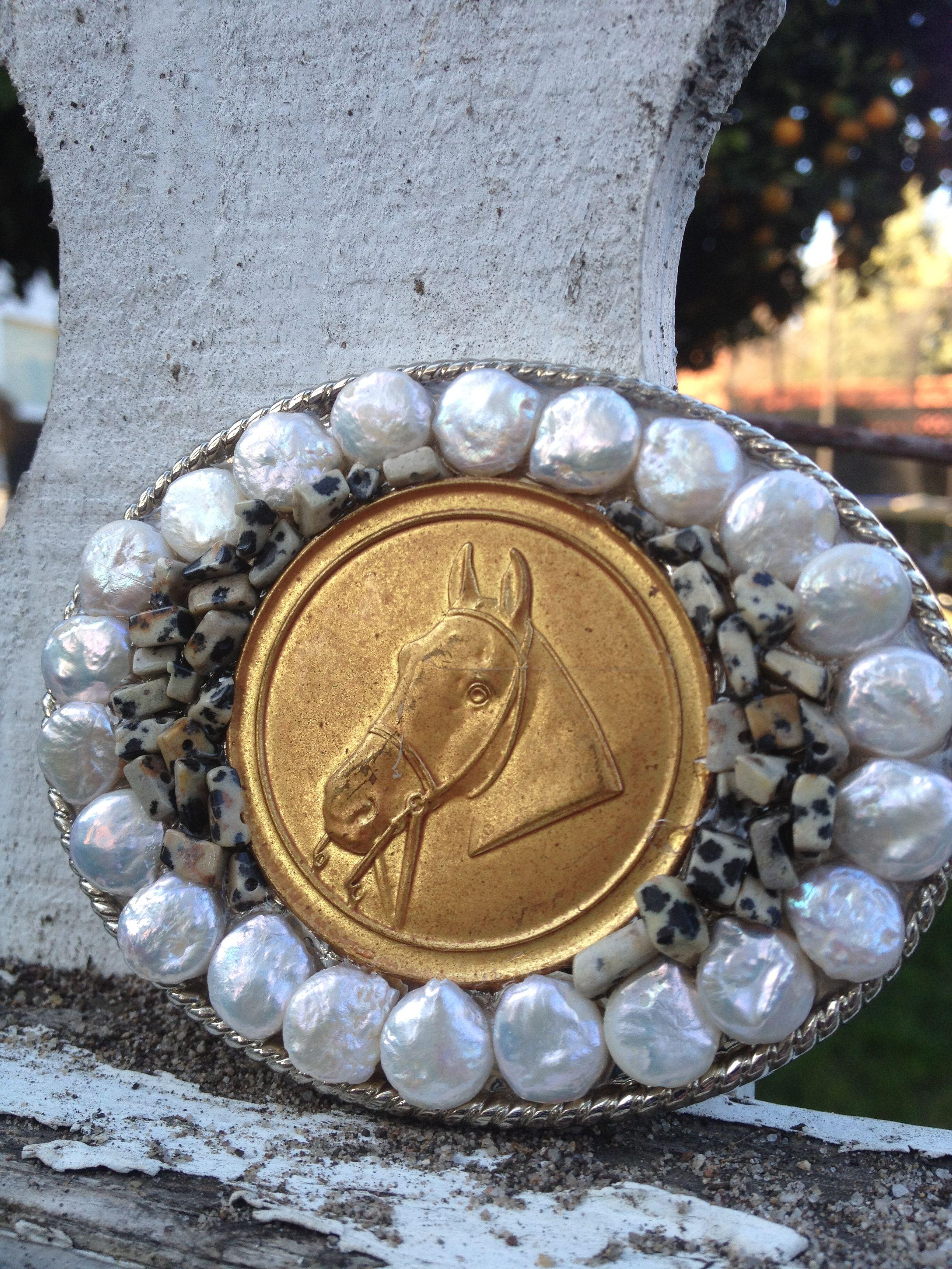 Vintage horse ribbon medallion buckle