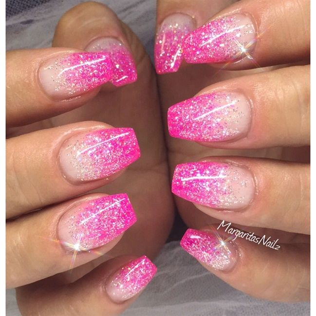 Pink Glitter Nail Art Gallery Pink Glitter Nails Ombre Nails Glitter Pink Nails