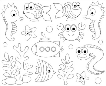 Under The Sea Clip Art Ocean Clipart Fishes Crab Seahorse Eel Submarine Art Drawings For Kids Clip Art Doodle Drawings