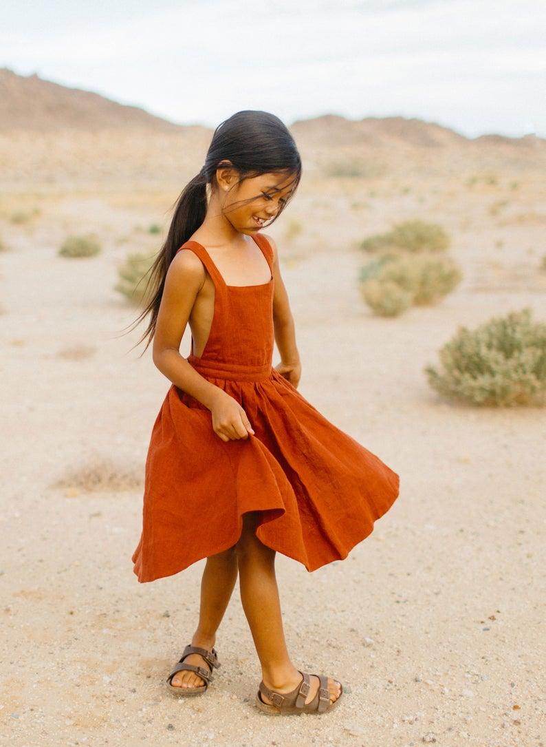 Linen Pinafore, Linen Apron Dress, Rust Red Dress, Linen Sundress, Flower Girl Dress, Twirl Skirt, Jumper Dress, Toddler Dress