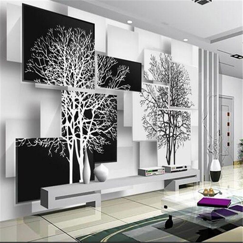 personnalis 3d papier peint mural simple noir et blanc arbre 3d fond mur salon canap tude. Black Bedroom Furniture Sets. Home Design Ideas