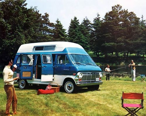 59d3fbfebfb1c7 1969 Ford Econoline Van Minihome Conversion Photo Poster zc6937-R5IGII  picture it in red .
