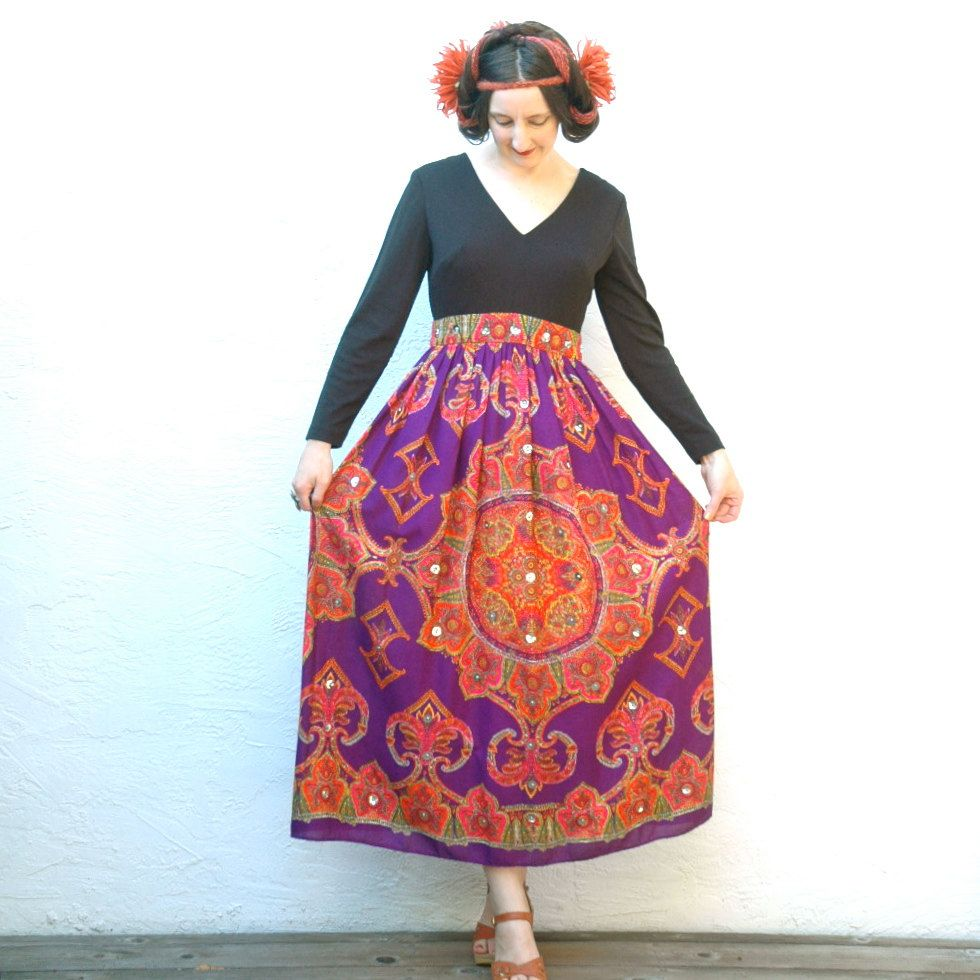 1960s Psychedelic Dress Hippie Maxi Dress by ...