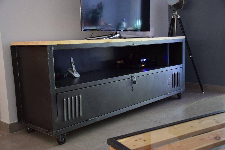 Meuble Tv Avec Un Casier Metal Ac T Original Wood Creations