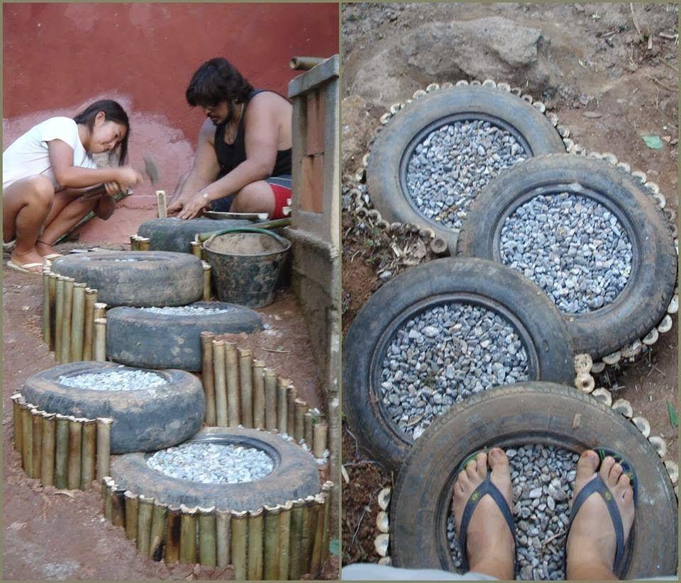 Blog de manualidades con objetos reciclables y accesorios for Ideas para decorar el jardin con llantas