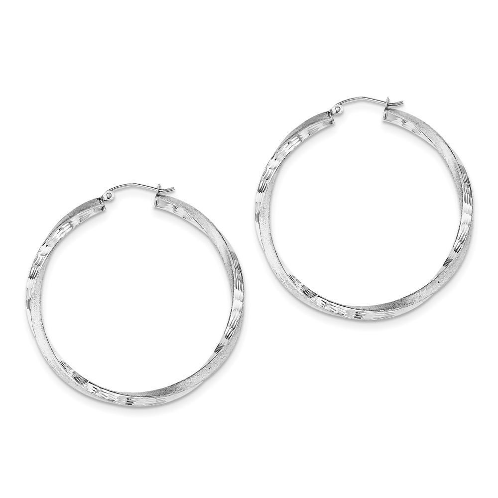 925 Sterling Silver Rhodium-plated Satin /& Diamond Cut Twist Hoop Earrings