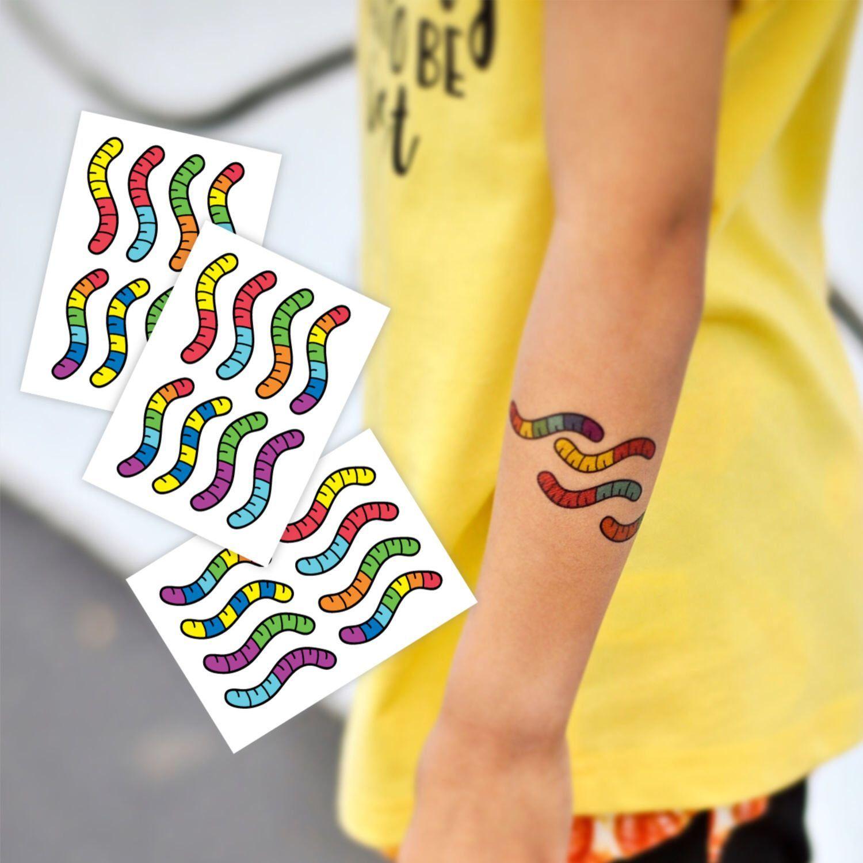 Gummy worms temporary tattoos set of 24 yummy rainbow