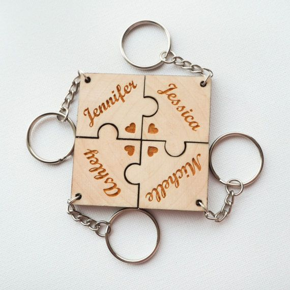 New Superior Quality Personalised  Acrylic or solid wood Jigsaw piece Keyring