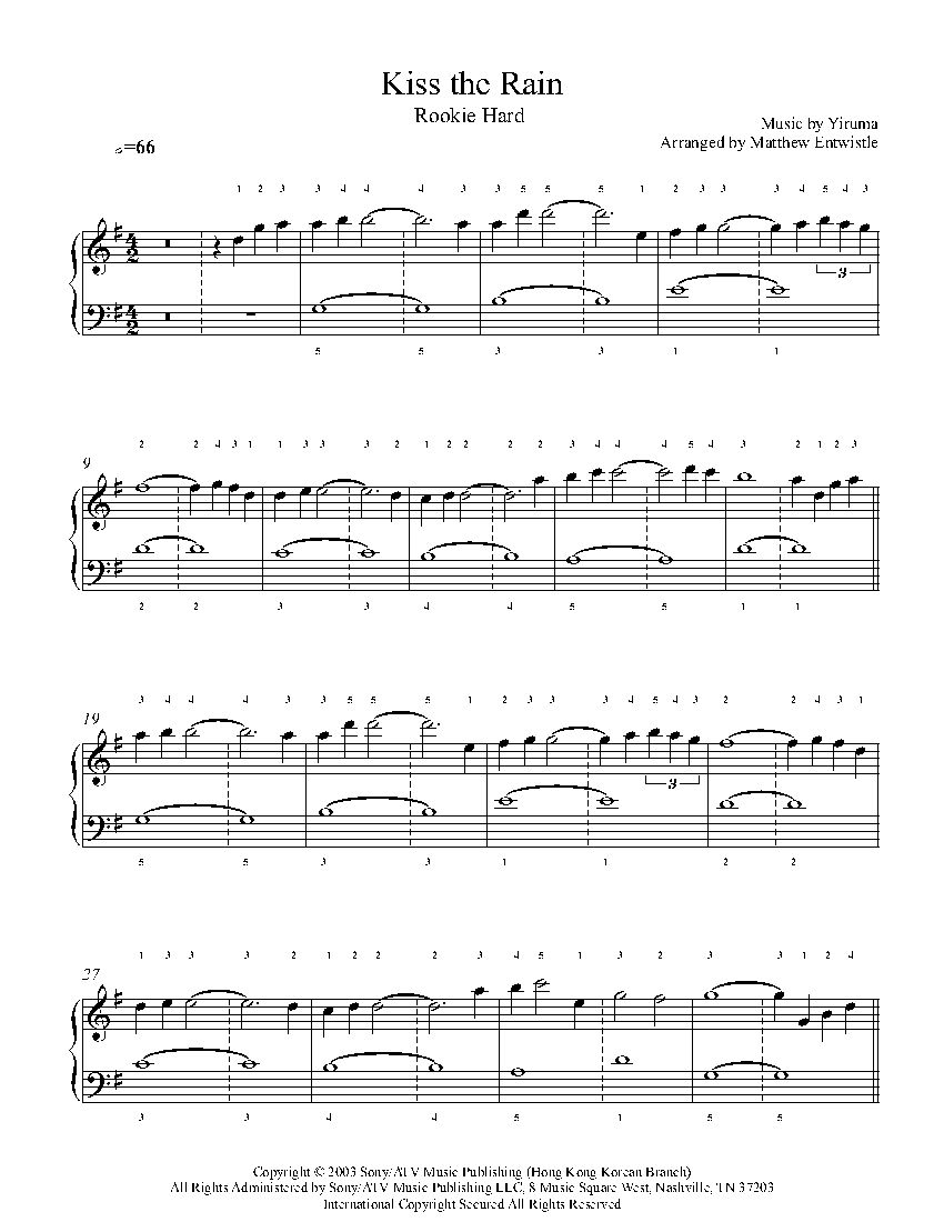 Kiss The Rain By Yiruma Piano Sheet Music Rookie Level Lagu