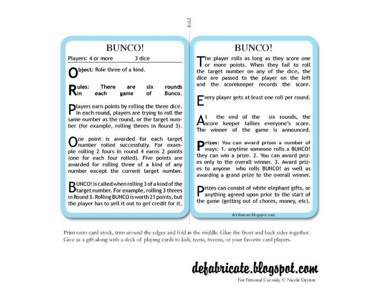Bunco Rules And Score Sheets Printable  Yahoo Search Results