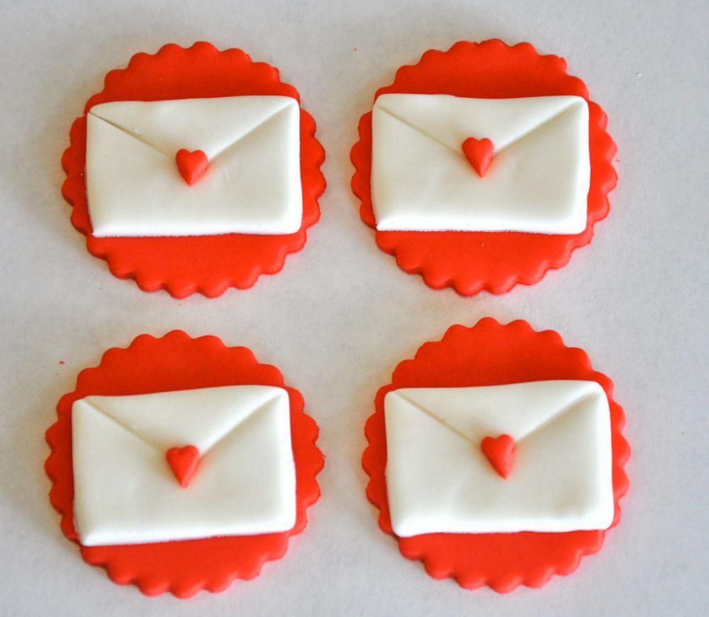 Love Letter Valentine S Day Fondant Cupcake Cake Or Cookie Toppers Edible 1 Dozen 14 95 Vi Fondant Cake Toppers Valentines Cupcakes Valentines Day Cakes